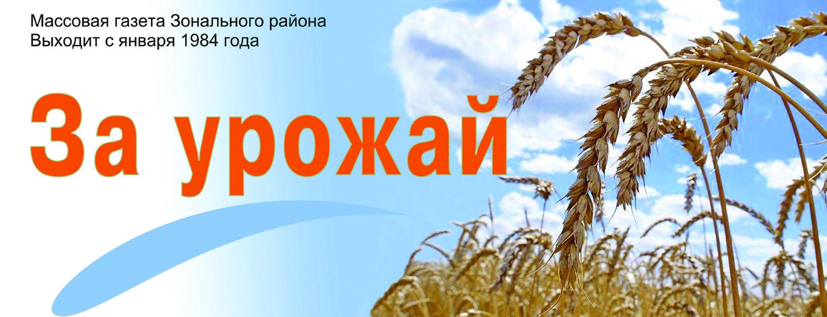 Газета за урожай зональный район дать объявление дать объявление неустроев